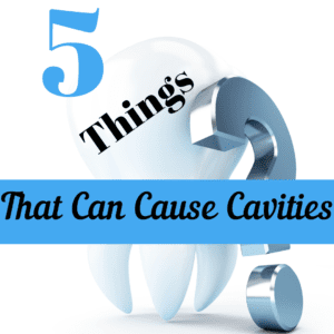 """Title banner with tooth and title """"5 things that can cause cavities"""""""