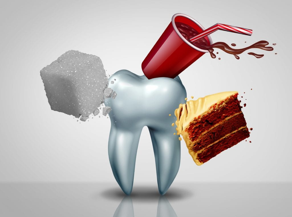 Giant tooth being attacked by sugar cube, cake, and soda