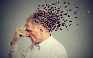 Man with mind fragmenting